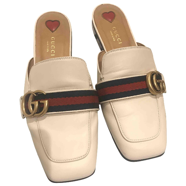 Gucci Ecru Leather Flats