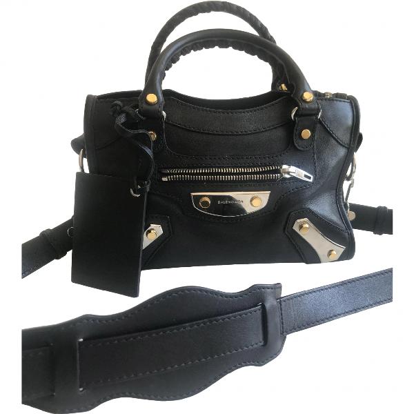 Balenciaga Classic Metalic Black Leather Handbag