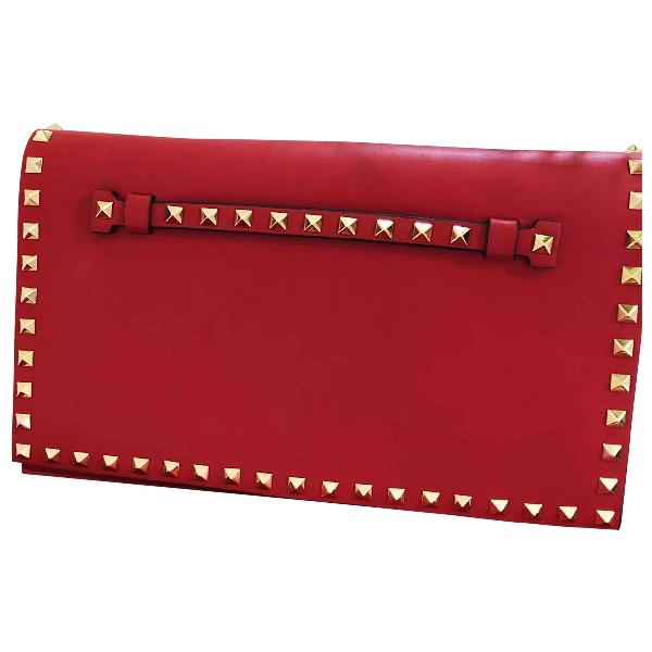 Valentino Garavani Rockstud Red Leather Clutch Bag