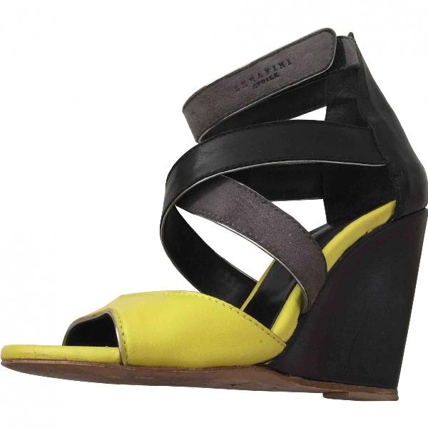 Serafini Black Leather Sandals