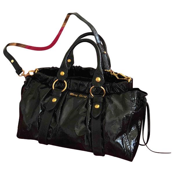 Miu Miu Vitello Anthracite Patent Leather Handbag