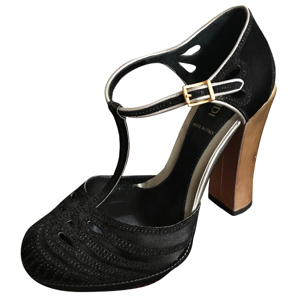 Fendi Black Cloth Sandals