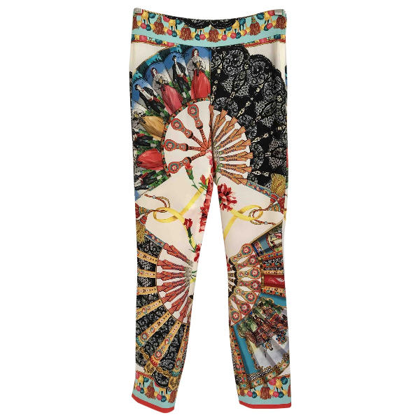 Dolce & Gabbana Multicolour Silk Trousers