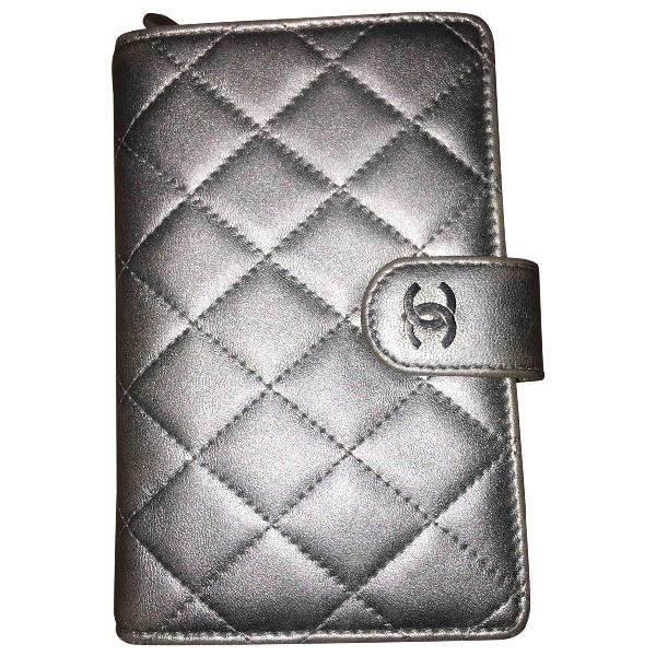 Chanel Timeless/classique Silver Leather Purses, Wallet & Cases