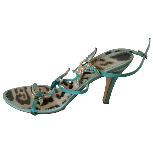 Roberto Cavalli Turquoise Leather Sandals