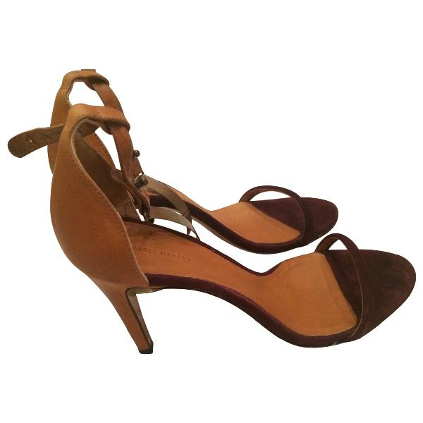 Isabel Marant Burgundy Leather Sandals