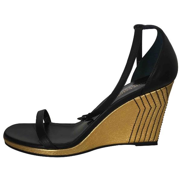 Saint Laurent Gold Leather Sandals