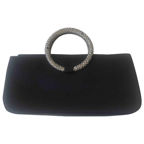 Stuart Weitzman Black Silk Clutch Bag