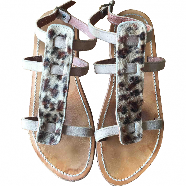 K.jacques Beige Leather Sandals