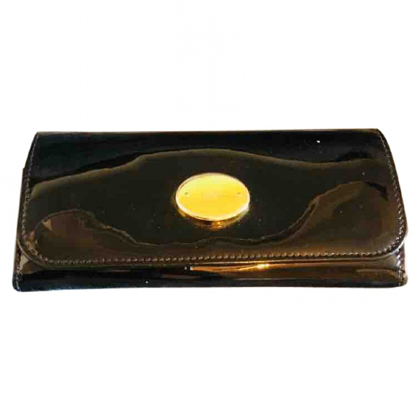 Alexander Mcqueen Black Patent Leather Wallet