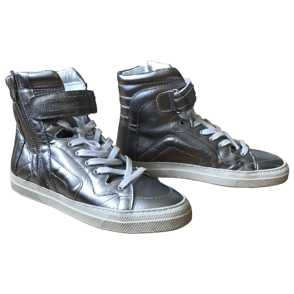 Pierre Hardy Silver Leather Trainers