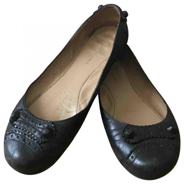 Balenciaga Black Leather Ballet Flats