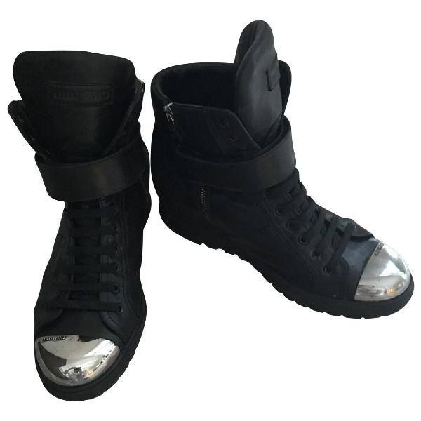 Miu Miu Black Leather Trainers