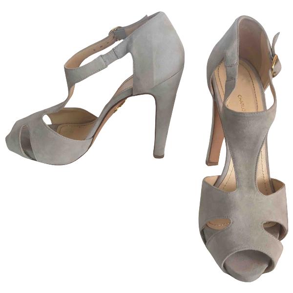 Charlotte Olympia Grey Suede Heels
