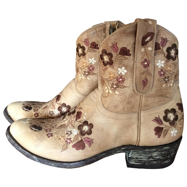 Mexicana Beige Leather Ankle Boots