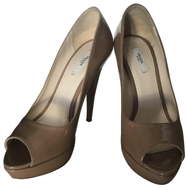 Prada Camel Patent Leather Heels