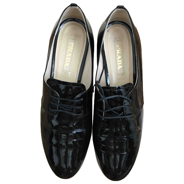 Prada Black Patent Leather Lace Ups