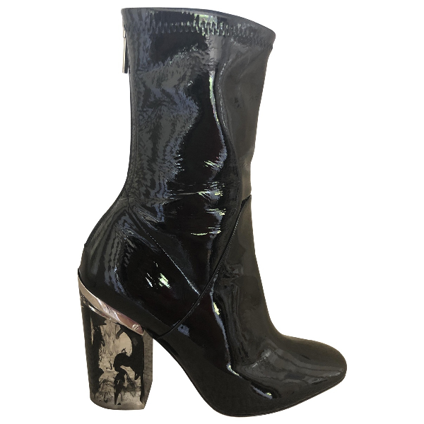 Dior Black Patent Leather Ankle Boots