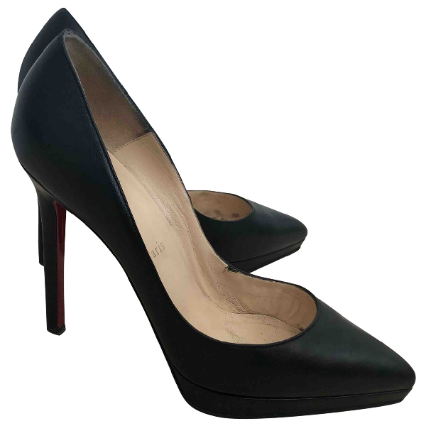 Christian Louboutin Pigalle Plato Black Leather Heels