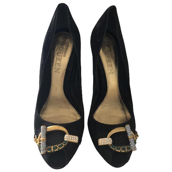 Alexander Mcqueen Black Velvet Heels