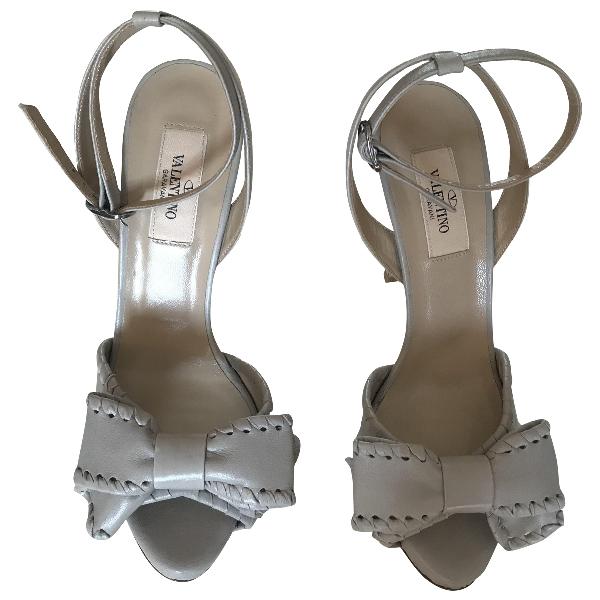 Valentino Garavani Grey Leather Sandals