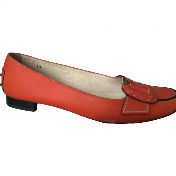 Tod's Orange Leather Ballet Flats