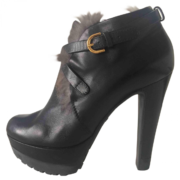 Sergio Rossi Black Leather Ankle Boots