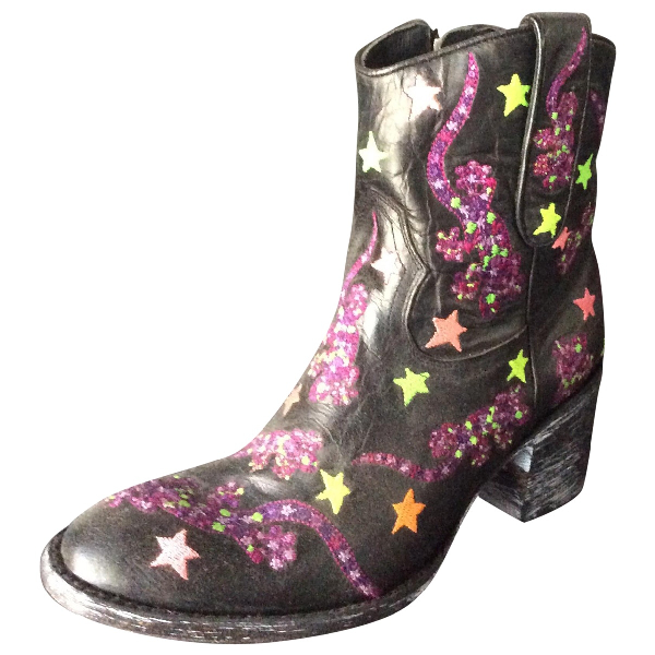 Mexicana Black Leather Ankle Boots