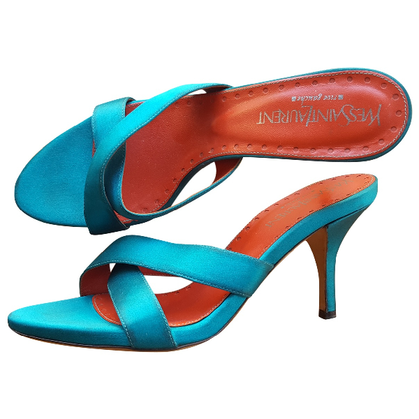 Saint Laurent Turquoise Cloth Sandals