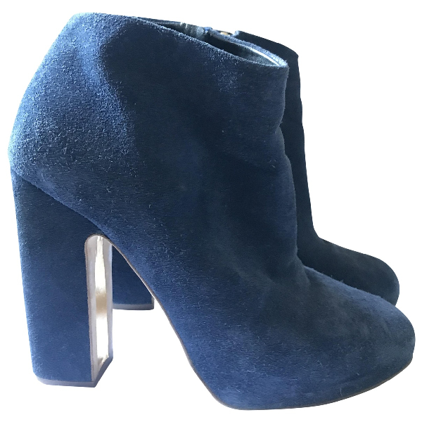 Rupert Sanderson Navy Suede Ankle Boots