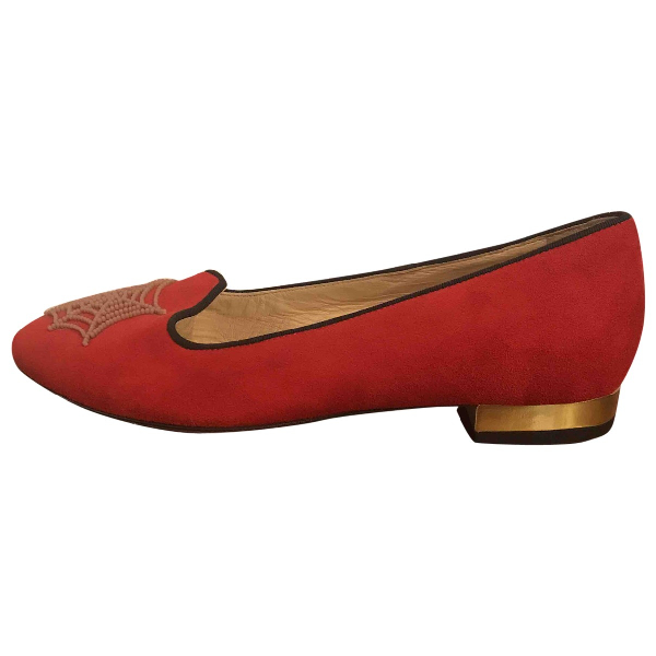 Charlotte Olympia Red Suede Flats