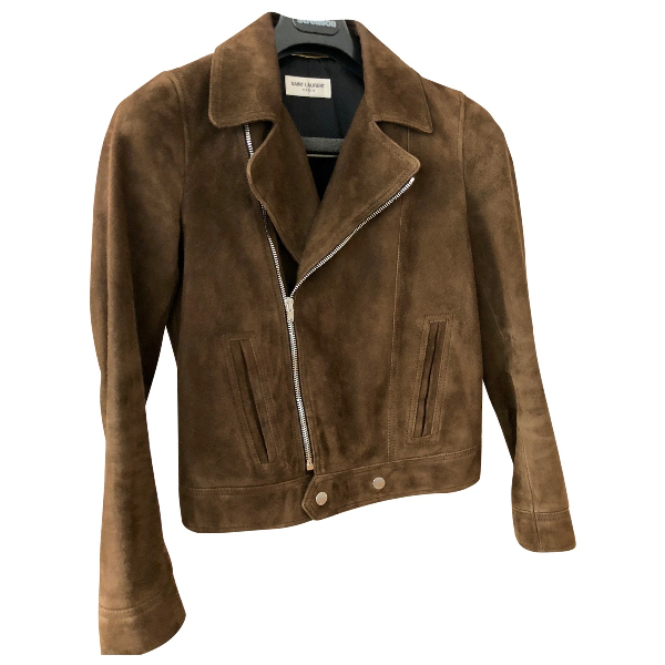 Saint Laurent Brown Suede Leather Jacket