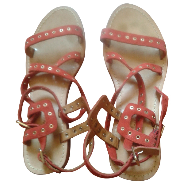 Mellow Yellow Red Leather Sandals