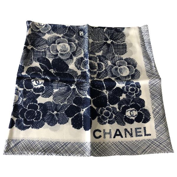 Chanel White Silk Silk Handkerchief