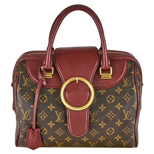 Louis Vuitton Speedy Burgundy Cloth Handbag
