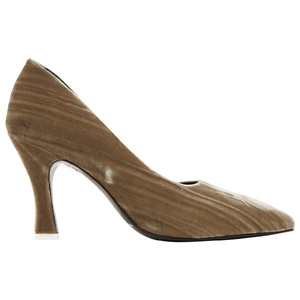 Attico Khaki Velvet Heels