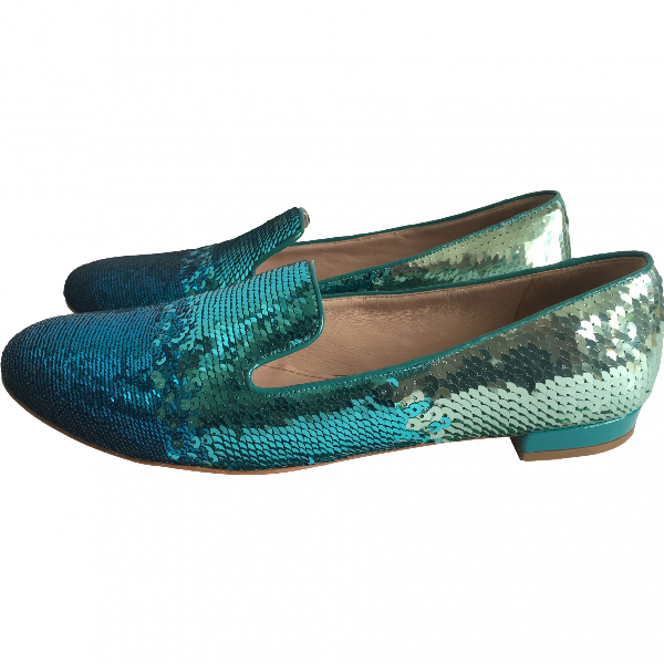 Miu Miu Turquoise Glitter Flats