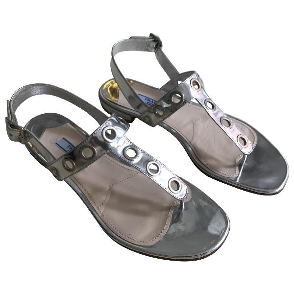 Prada Silver Patent Leather Sandals