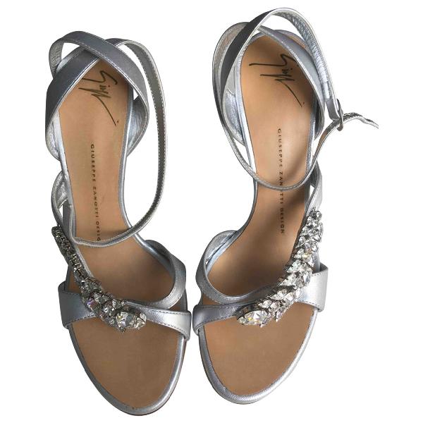 Giuseppe Zanotti Silver Leather Sandals