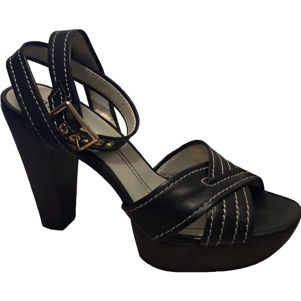 Dkny Black Leather Sandals
