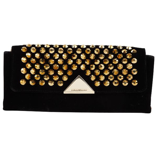 Emporio Armani Black Velvet Clutch Bag