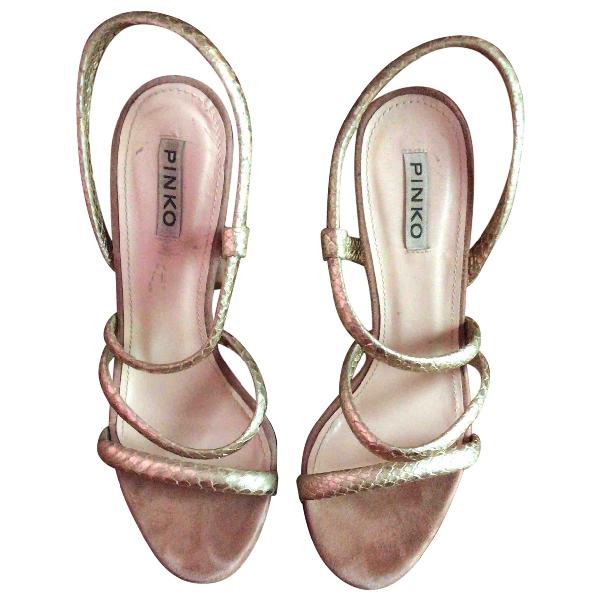 Pinko Gold Suede Sandals