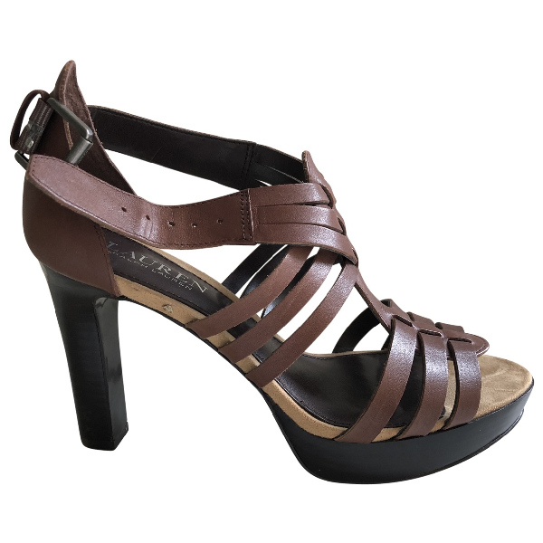 Lauren Ralph Lauren Brown Leather Sandals