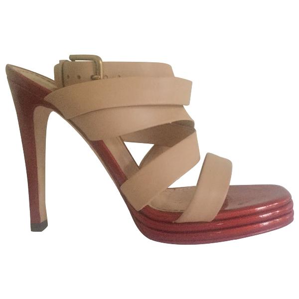 Saint Laurent Beige Leather Sandals