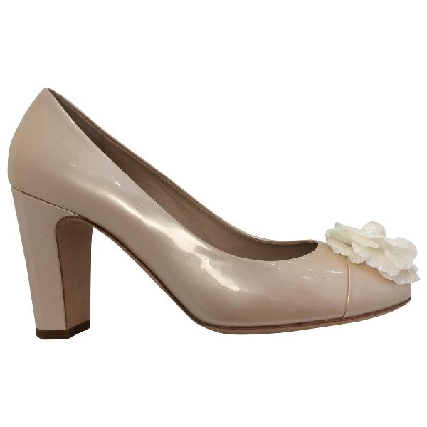 Chanel Beige Patent Leather Heels