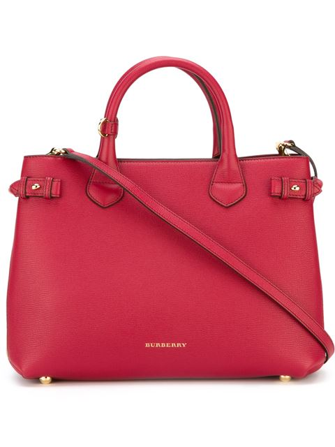 86dba13457bb Burberry Banner Medium House Check & Derby Leather Tote Bag, Russet Red
