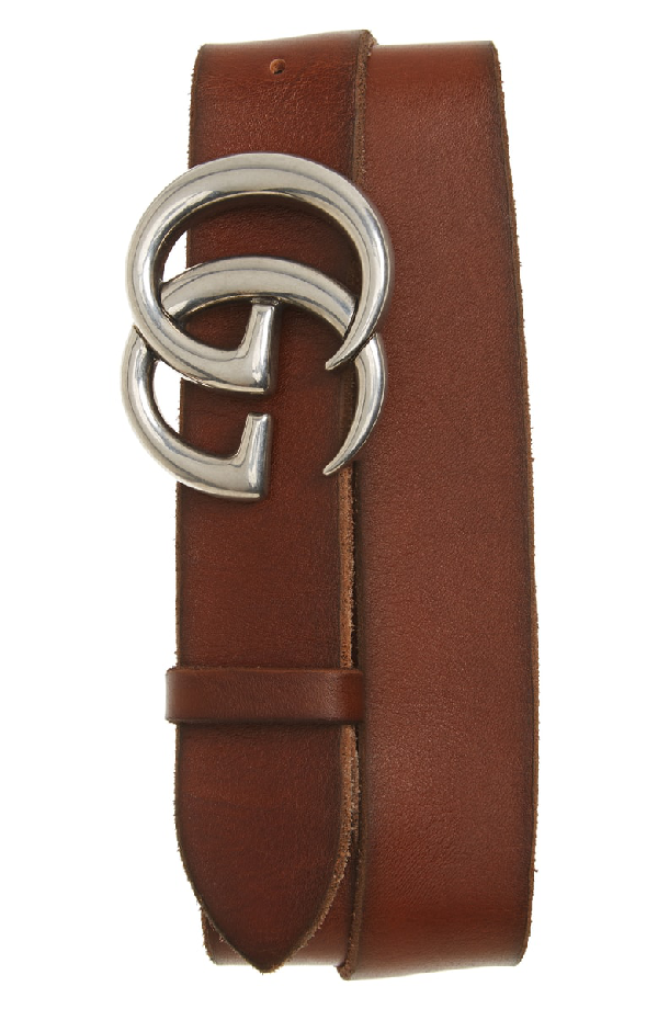 Gucci Distressed Leather Belt In Light Brown