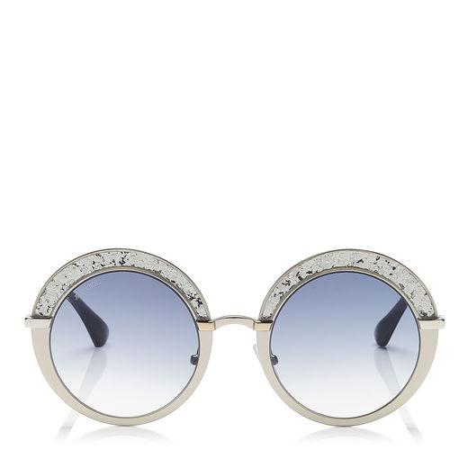 c2c4206d033 Jimmy Choo Gotha Nude Palladium And Glitter Round Framed Sunglasses In Dark  Grey Shaded