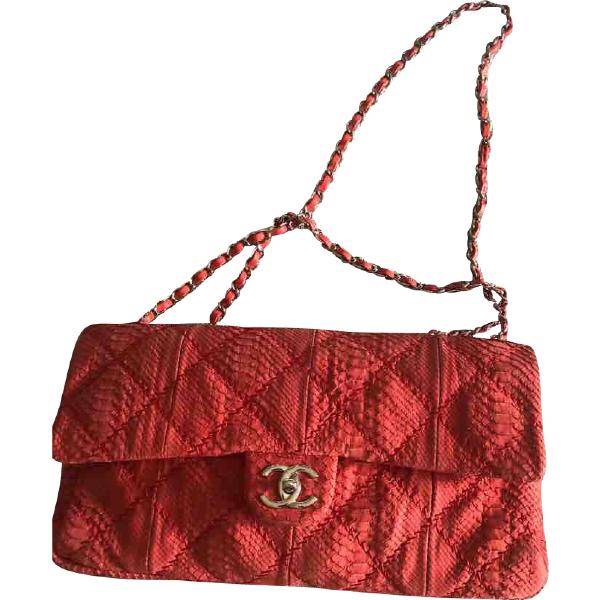 Chanel Red Python Handbag