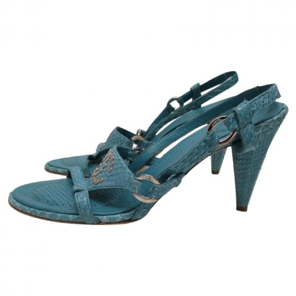 Chanel Blue Python Heels